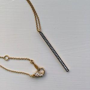 Nordstrom Nadri pave gold bar necklace